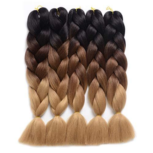DingDian Braiding Hair Ombre Kanekalon Jumbo Braids Synthetic Braiding Hair 5Pcs/Lot Hair...