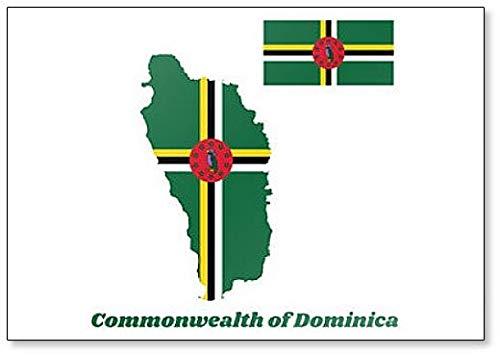 Kühlschrankmagnet, Motiv Karte & Flagge von Dominica