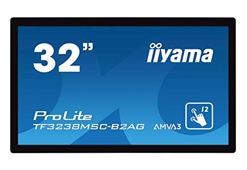 iiyama ProLite TF3238MSC-B2AG 80cm (31,5 Zoll) AMVA3 LED-Monitor Full-HD Open Frame 12 Punkt Multitouch kapazitiv (VGA, DVI, 2xHDMI, DisplayPort, USB), IP54 front, AntiGlare,Touch durch Glass) schwarz