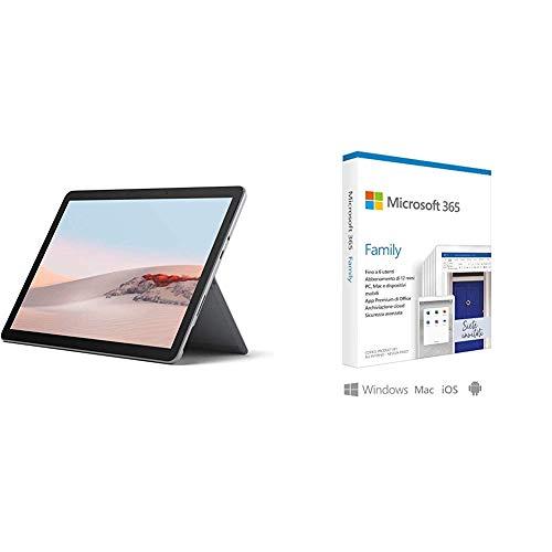 Microsoft Surface GO 2 Tablet, 10.5'', 8 GB RAM, 128 GB SSD, Dual-Core Intel Pentium + Microsoft 365 Family | 6 Persone | Box