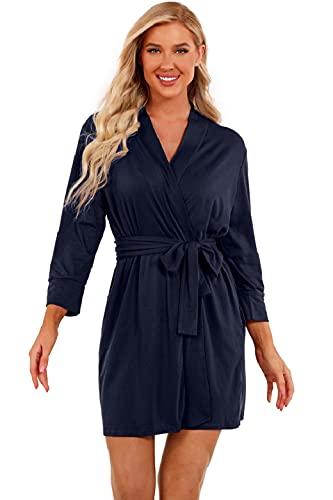 UMIPUBO Albornoz para mujer de algodón, pijama, escote en V, ropa de noche, ropa de dormir, kimono sexy con bolsillos, albornoz de sauna, tallas S-XXL marine XL