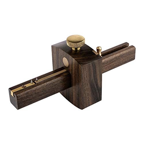 Kattool Mortise Gauge, Ebony 6.4 inch Woodworking Scriber Marking Tools Adjustable Screw Type Scribing Tool