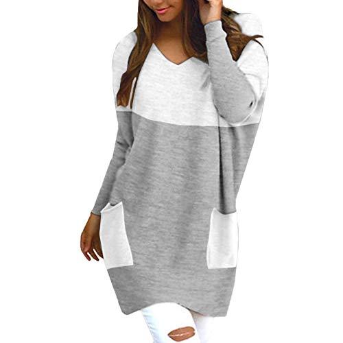 Masrin Mask Frauen Pullover Casual Color Block Patchwork Pullover Sweatshirt V-Ausschnitt Langarm Baggy Strickpullover Kleid Mit Tasche(M,Grau)