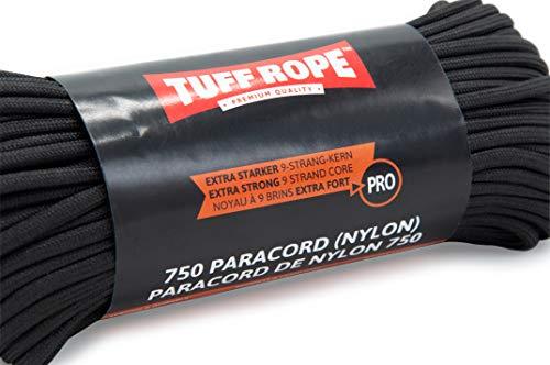 Tuff Rope PRO Paracord 750 (Nylon) Extra Starkes Paracord Seil mit 9 Kernsträngen 350KG Bruchlast (Schwarz)