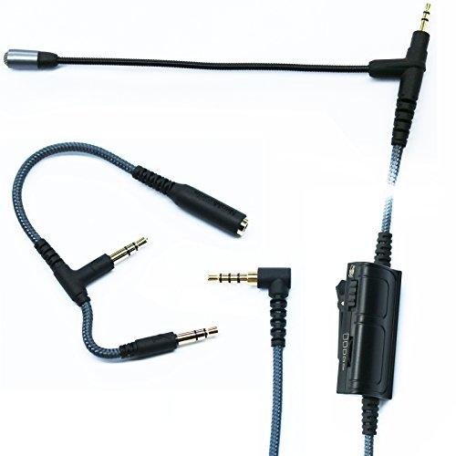 Audio Kabel Adapter mit Boom Mikrofon Universal Lautstärke für Gaming PS4Xbox One PC Laptop iPhone Android Handy zu 2,5mm Kopfhörer Bose AKG Sennheiser Headset 150cm