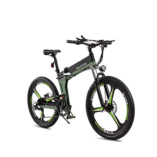 POLESITTER Folding Electric Bike, 26 inch Tire, 350 Watt Motor, LED Lights, Green Black Color E Bicycle