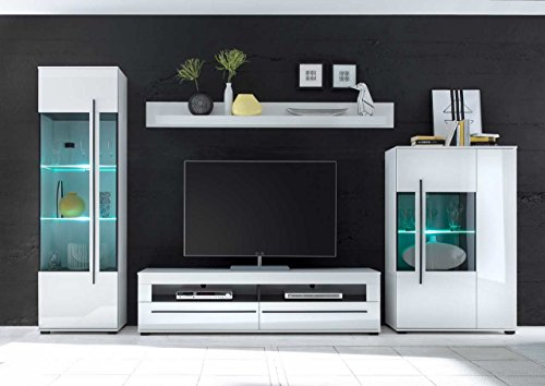 Wohnwand in weiß mit Hochglanz Tiefziefronten und Grauglas, Soft-Close Schubkästen, Gesamtmaße: B/H/T ca. 350 (330)/200/37-42 cm