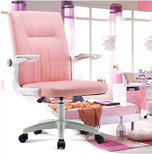 LG Snow Silla De Cuero De Color Rosa Rosa Ordenador Personal Silla Giratoria Lazy Silla del Ocio Silla Chica Juego De Elevación Apoyabrazos Pequeño Espacio Dedicado, Gran Capacidad De Carga
