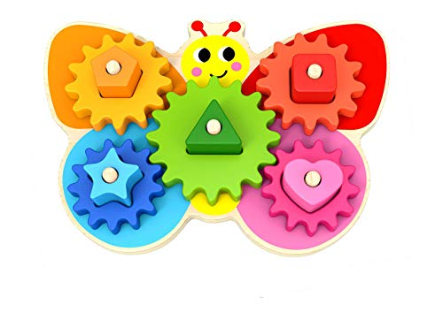 Wooden toys - Montessori Toys For 2 Year Old Girls and Boys - Toddler Puzzles - Shape Sorting Matching Gear Game - Educational Toddler Toys Age 2-3 - Develops Fine Motor Skills - Toddler Sensory Toys