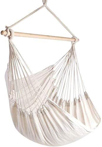 Silla de cama colgante Silla de hamaca grande, puede columpiarse, tejer alambre de algodón, brinda comodidad y durabilidad superiores,White