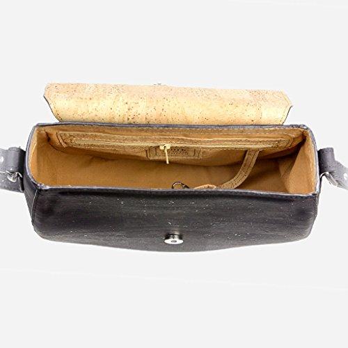 Corkor Veganer Schultertasche Böhmischen Umhängetasche Damen Geldbeutel Handtasche Natur-Leder Natur - Saddle Bag - Beuteltasche aus Veganem Leder Schwarz - 5