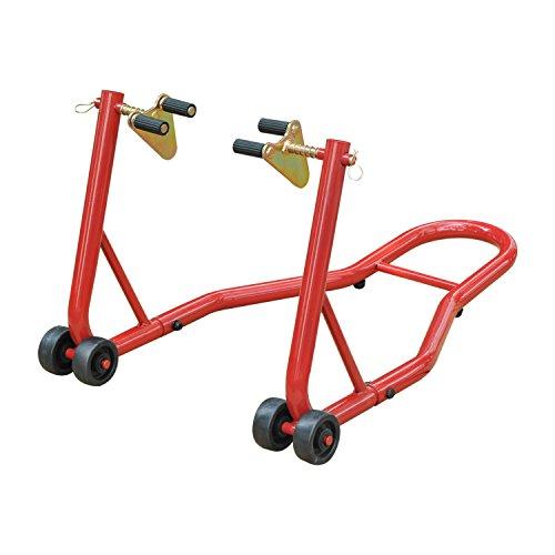 Homcom Caballete Elevador Universal Tipo Soporte Delantero de Moto Portátil y Móvil con Ruedas para Reparar y Aparcar Color Rojo Material Acero 80x50x40cm