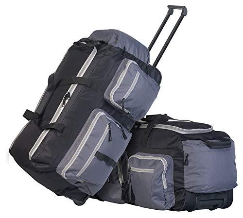 Xcase Reisetasche XXL: 2er-Set faltbare XL-Reisetaschen mit Trolley-Funktion & Teleskop-Griff (Koffer XXL)