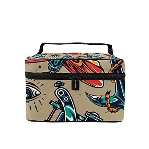 Bolsa de maquillaje de viaje, bolsa de cosméticos grande, estilo vintage, colorido, para maquillaje, organizador con bolsa de malla para mujeres y niñas