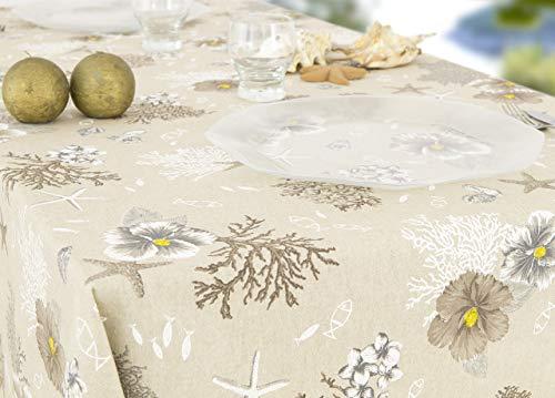 Nappe en 100% coton dessin Corail 140x240 beige