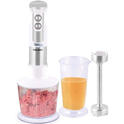 Palson Spin Plus-Batidora de Mano (800 W, Velocidad Regulable, Vaso 700 ml), Color Blanco Metalizado, Vidrio