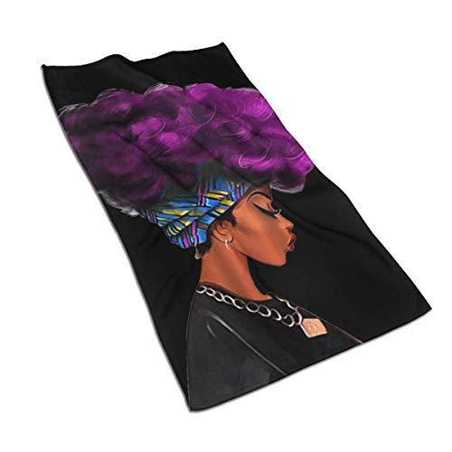 CGHD Toallas de Mano Decorativas Grandes para Mujeres africanas con Cabello Morado, Estampado, Suave, Altamente Absorbente, Multiusos para baño, Hotel, Gimnasio y SPA (27,5 x 15,7 Pulgadas)
