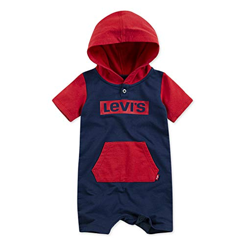 Levi's Baby Boys Short Sleeve Hooded Coverall, Dress Blues/Lychee, 12M