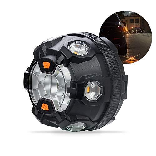 Emergency Vehicle Light for Accident, Car Roadside Flashing Flares Safety Warning LED Strobe Light with Magnetic Base (Amber/White)