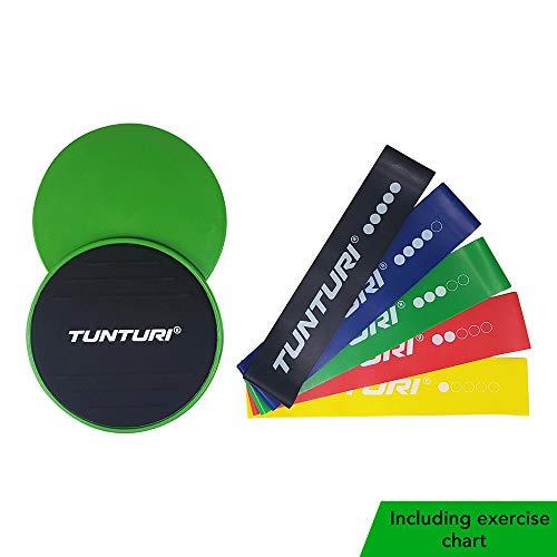 Tunturi Fitness-Set Widerstandsbänder und Kernschieberegler 7-teilig