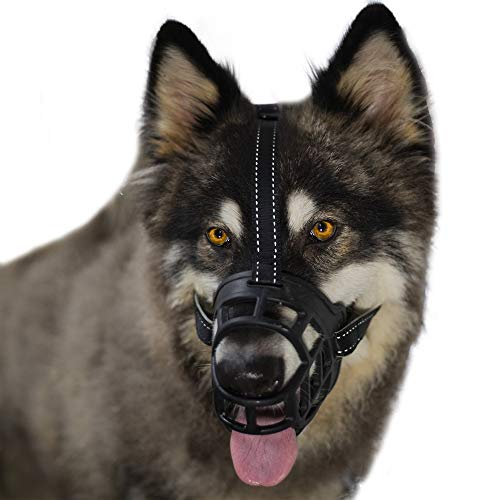 BURBOHUG Dog Muzzle,Soft Basket Silicone Muzzles for Dog, Best to Prevent Biting, Chewing and Barking, Allows Drinking and Panting, Luminous Material, 6 Sizes for Small, Medium and Large Dogs