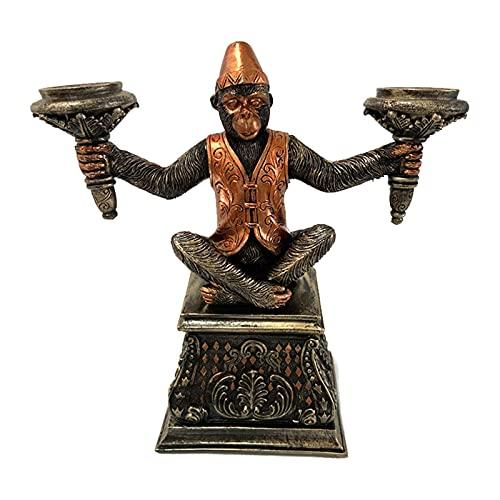 FDKJOK, statuetta in stile vintage con scimmia, con candelabro, in vero rame, stile vintage, in resina, con scimmia, per sala da pranzo, soggiorno, camera da letto, colore: marrone scuro