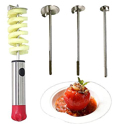 Verdure Corer Corer Drill Frutta Corer Corer con Manico Antiscivolo Ergonomico, 4 Formati Trapano Veggie per Carotare Zucchine, Patate, Carote