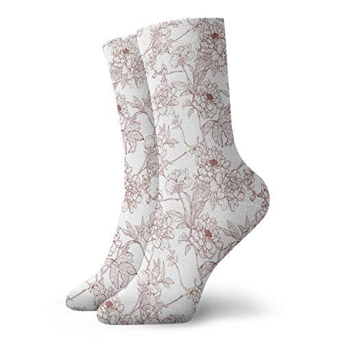 Calcetines suaves de media pantorrilla, ramitas rústicas con peonías silvestres inspiradas en la naturaleza, diseño de jardín, aspecto vintage, calcetines para mujeres y hombres, ideales para correr