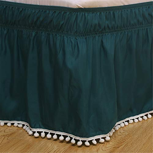 GYHH Bed Skirt,Elastic Bed Skirt, Fur Ball Style,100% Microfiber (easy To Match, A Variety of Sizes and Colors Match) (Dark green,Queen60*80+16inch)