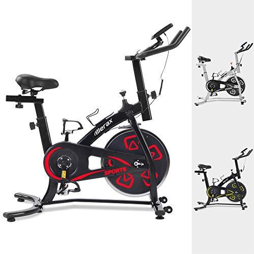 Merax Heimtrainer Fitness Bike,Spin Bike Studio-Fahrräder Trainingsgeräte Einstellbare Lenker & Sitz an Bord Computer liest Geschwindigkeit, Entfernung, Zeit, Kalorien + Puls (Schwarz Rot)