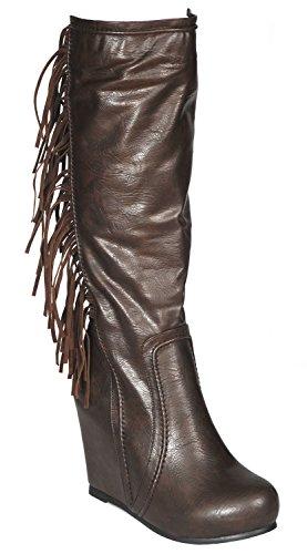 DimeCity Women's Hidden Wedge Heel Fringe Boots Brown