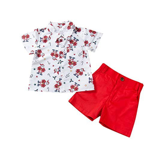 Baby Boys Christmas Outfits Bowtie Button Down Hawaiian Shirts Shorts Pants Wedding Birthday Party Tuxedo Gentlemen Suits for Kids Toddler Xmas Casual Summer Holiday White Santa Claus 3-4T