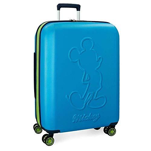 Trolley Topolino Mickey Disney Colored da Viaggio CM. 68x48x27 Celeste in ABS - 3428862