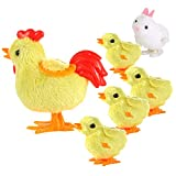 Auihiay 6 Pieces Easter Wind-up Chicks Easter Jumping Toys Wind Up Chicken and Bunny for Kid Party Favors