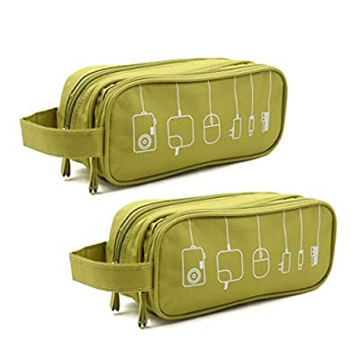 HONSKY 2 Set Medium Water Repellent Travel Electronics Accessories Gadget Cable Cord Organizer, Hanging Cosmetic Makeup Toiletry Space Storage Bags Cases Pouch for Kids Women Men, Green