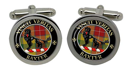 Baxter Clan Chrome Boutons de manchette pour homme avec coffret cadeau