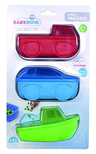 BABY-NOVA® PREMIUM Snackbox - 3 SNACK DOSEN - verschließbarer Deckel - Baby und Kinder Dose für Unterwegs - praktisch to go - Aufbewahrung Lunch Box - BPA frei