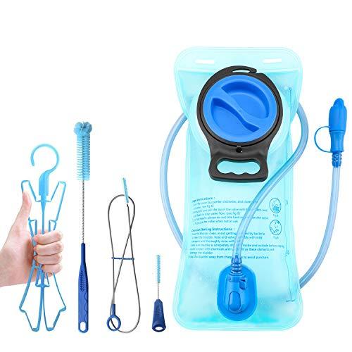 TAGVO Vessie d'hydratation 2 litres sans BPA 70 oz + Kit de brosses de Nettoyage, Vessie de Voyage étanche, Nettoyage Facile avec 3 brosses et séchage à l'air grâce à Un Cadre Pliable