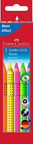 Faber-Castell 110994 - Matite colorate Jumbo Grip Neon, astuccio da 5 pezzi, green, orange, pink, blue, yellow