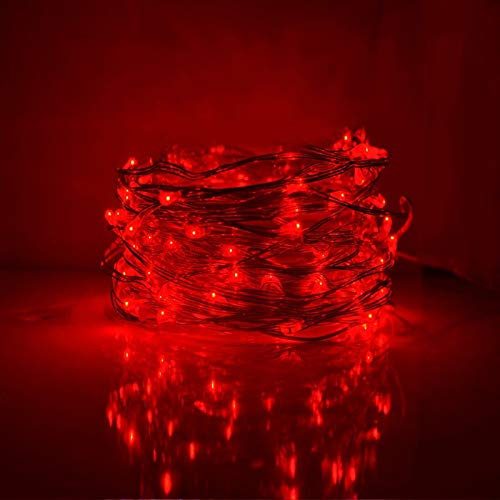 String Lights,LED Copper Wire Lights, Each Set 33ft/10M 100LEDs and 1 Remote Control.AA Battery Powered,Decor Rope Lights for Holiday,Wedding, Parties.(Red)