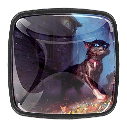(4 piezas) pomos de cajón para cajones con tiradores de cristal para gabinete, hogar, oficina, armario, gato espeluznante, fantasía, 35 mm
