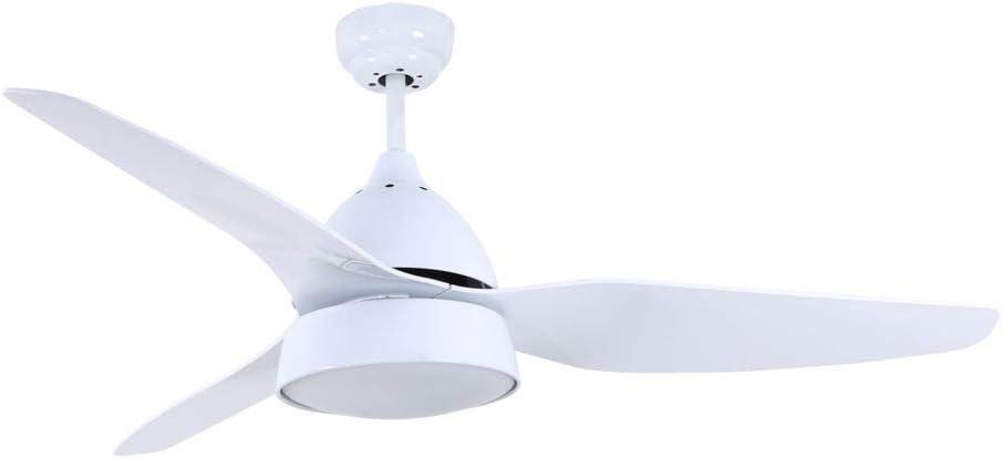 TODOLAMPARA - Ventilador de techo con luz, motor DC, control remoto, modelo AUTAN Blanco, 6 velocidades, 3 aspas, 2 portalámparas E27, silencioso, bajo consumo, tamaño grande 132cm