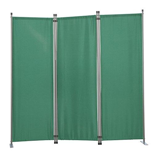 Angel Living Biombo Separador de 3 Paneles, Decoración Elegante, Separador de Ambientes Plegable, Divisor de Habitaciones, 169X165 cm (Verde)