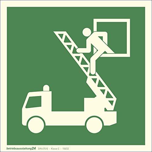 Betriebsausstattung24® 1000011 Fluchtwegschild Rettungszeichen Rettungsausstieg (Rettungsfenster) ASR A1.3 ISO 7010 E017 Folie (klebend) langnachleuchtend DIN 67510 Klasse C (Folie, 15 x 15 cm)