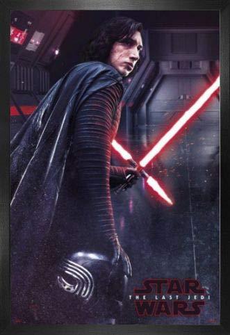 1art1 Star Wars Póster con Marco (Madera DM) - Episodio VIII Los Últimos Jedi, Kylo REN (91 x 61cm)