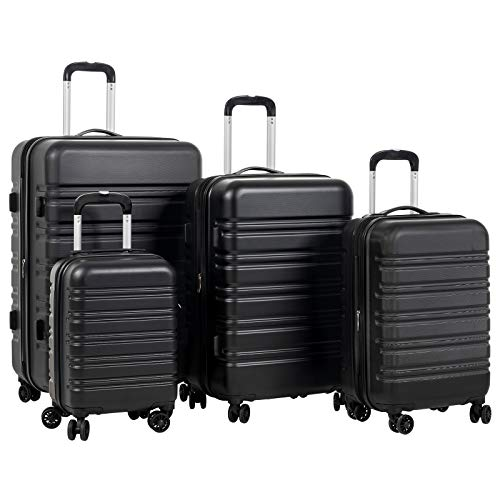 Murtisol Luggage Sets Expandable TSA Lock Lightweight Durable Spinner Double Wheels, Black,4-Piece(16/20/24/28)
