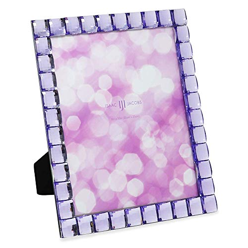Isaac Jacobs Decorative Sparkling Light Purple Jewel Picture Frame, Photo Display & Home Décor (8x10, Light Purple)