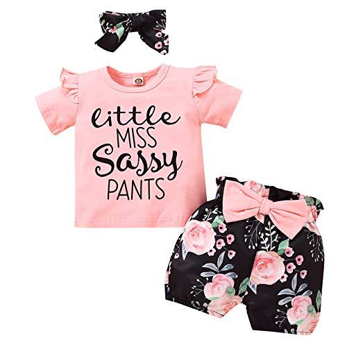 Conjunto de 3 piezas para bebé niña con estampado de letras y pantalones cortos con lazo y diadema.
