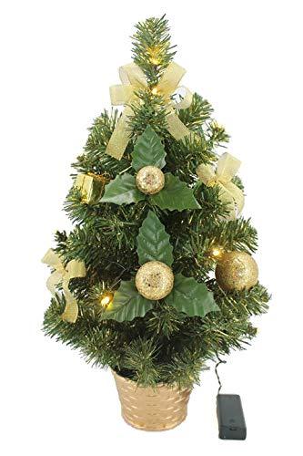 KRYSTAL 50 cm komplett geschmückt dekoriert Künstlicher Weihnachtsbaum mit 10 LED und Gold Deko, batteriebetrieben, warmweiß