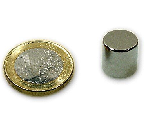 5 x Aimant rond Disque magnétique Ø 12 x 12mm Néodyme N42, Nickelé - Force d'adhérence: 9 kg - 5 pièces - Aimants ronds puissants, Disques magnétiques